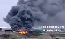 Large Blaze Being Tackled At Recycling Centre